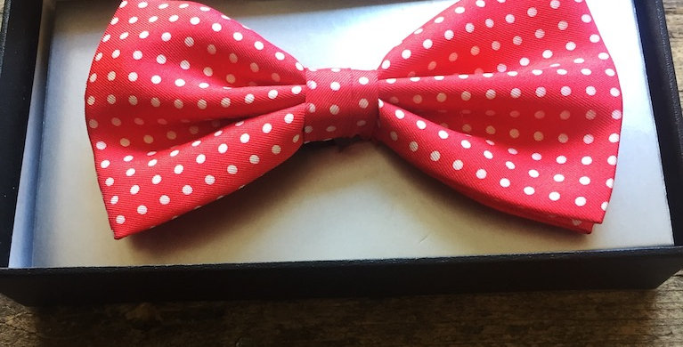 Red & White Small Spot Bow Tie