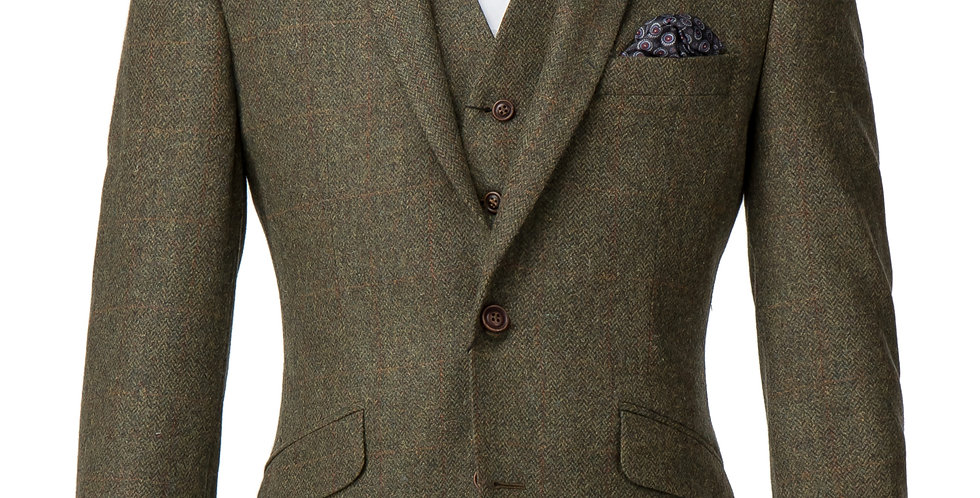 Khaki Herringbone & Checked Tweed Jacket