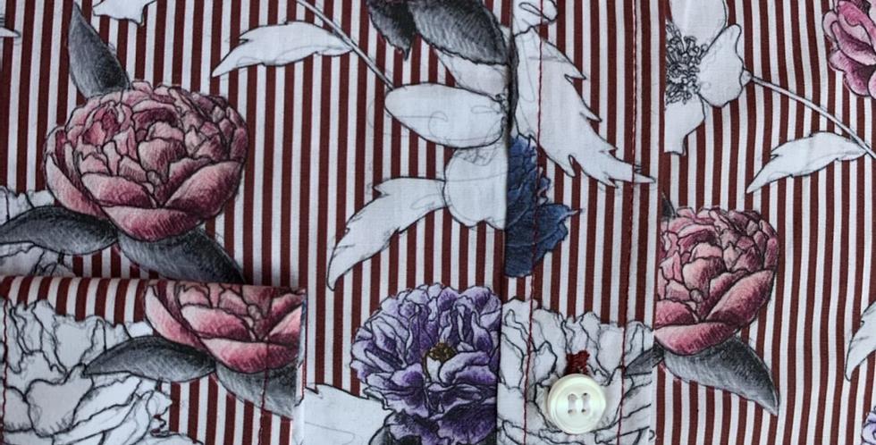 Burgundy Stripe & Floral Shirt