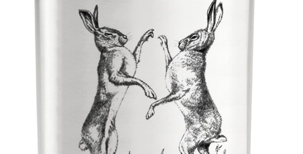 'Boxing Hare' Hip Flasks