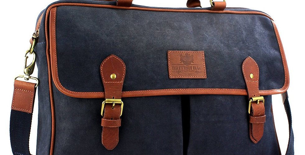 Navy Waxed Canvas Messenger Bag
