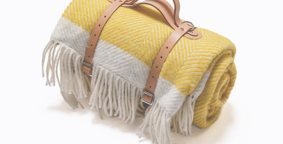 Yellow Herringbone Wool Picnic Blanket