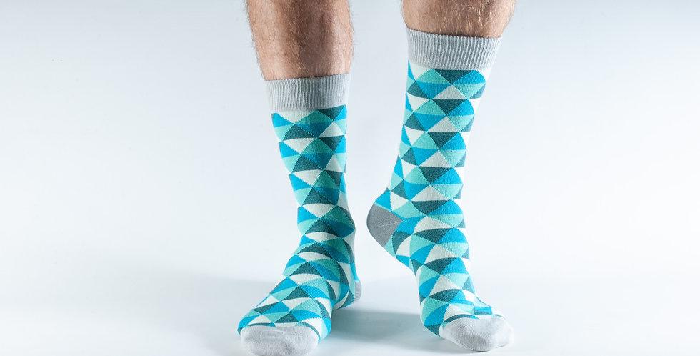 Size 7-11 Aqua Triangles Bamboo Socks