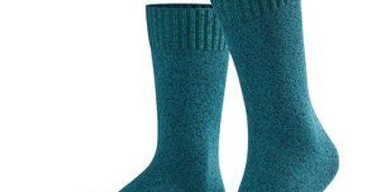 Teal Flecked Cotton & Wool Socks