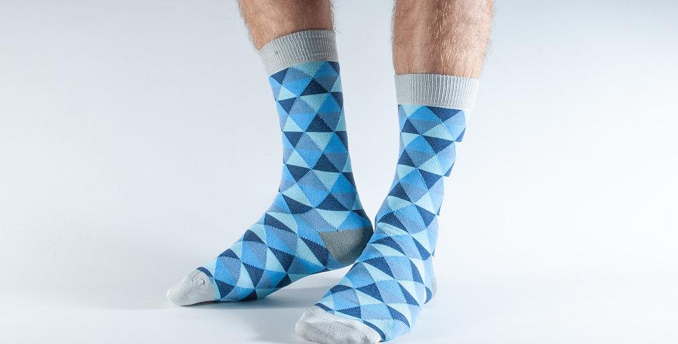 Size 7-11 Blue Triangles Bamboo Socks