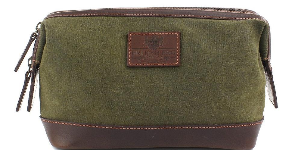 Green Waxed Canvas Wash Bag