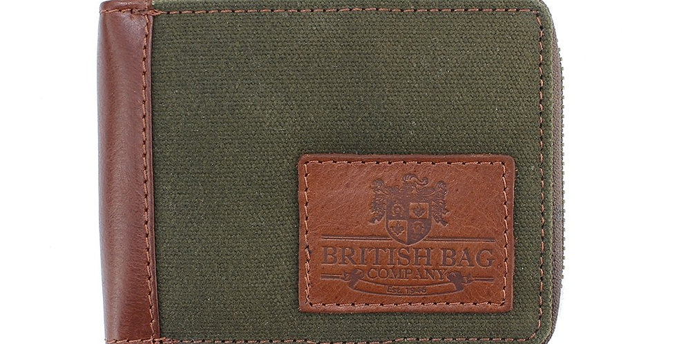 Green Waxed Canvas Zip up Wallet
