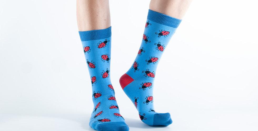 Size 3-7 Blue Ladybird Bamboo Socks