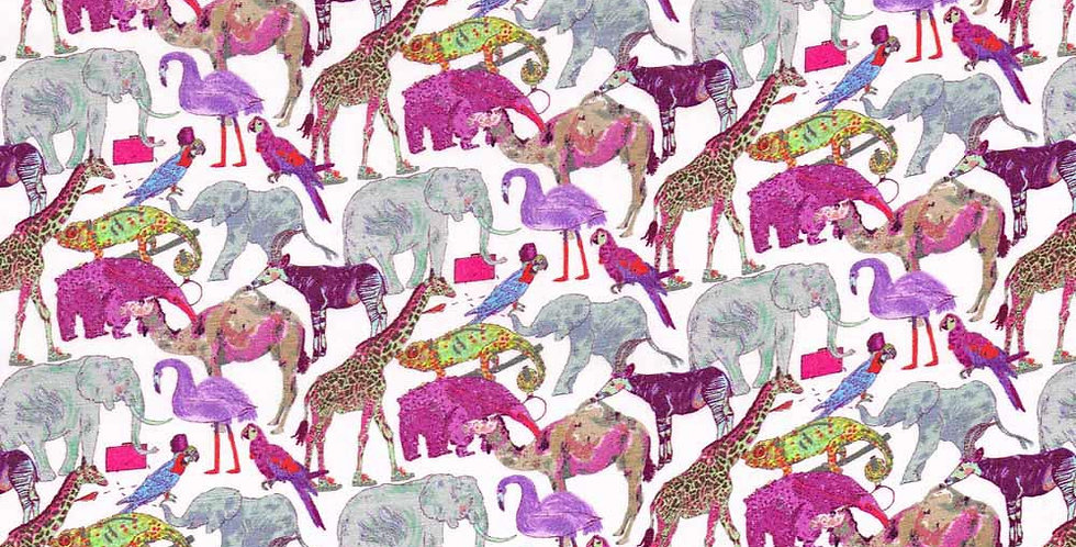 Liberty Print Pink 'Queue For The Zoo' Pocket Square