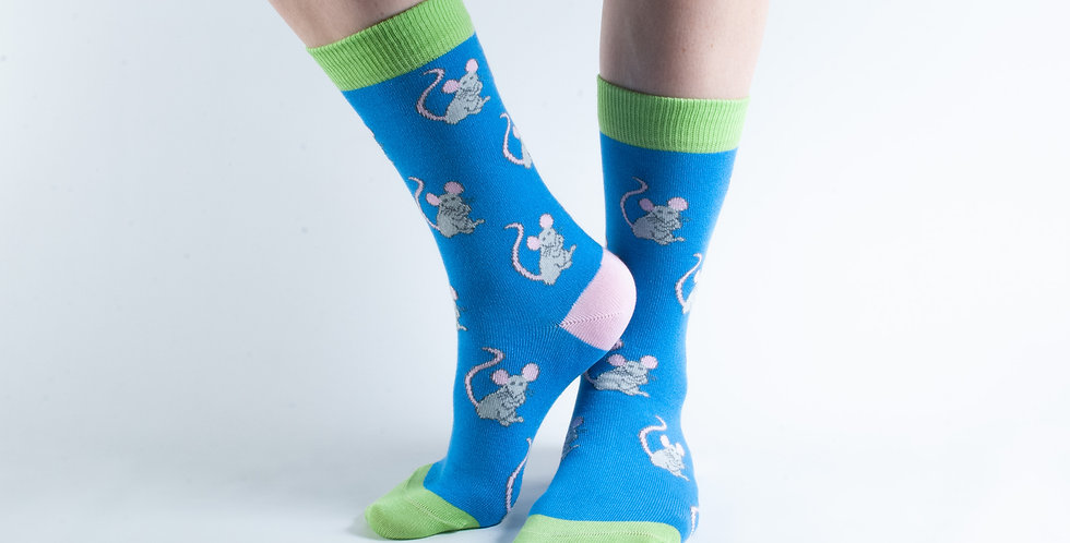 Size 3-7 Blue Mouse Bamboo Socks