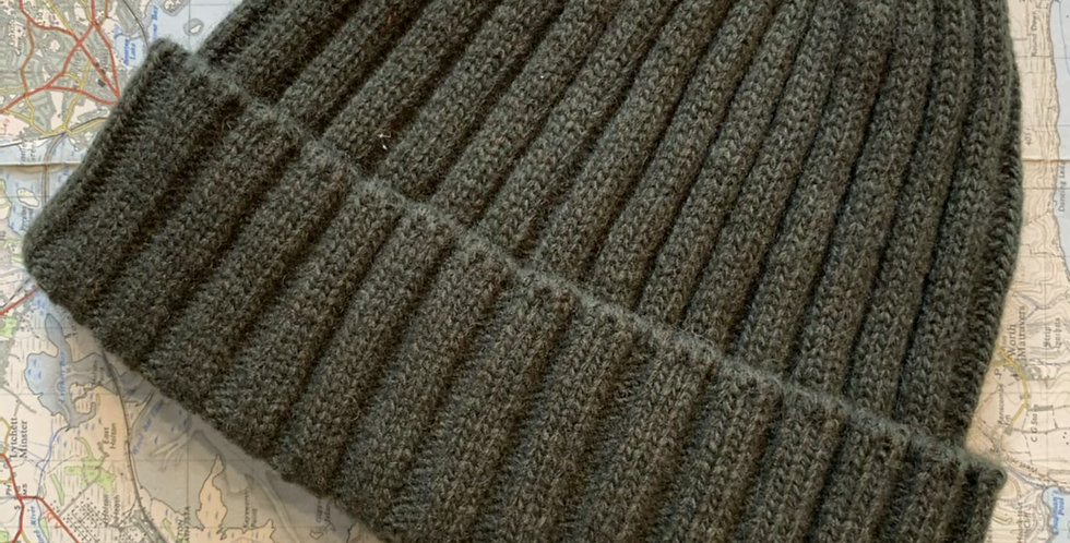 Green Ribbed Beanie With Cuff