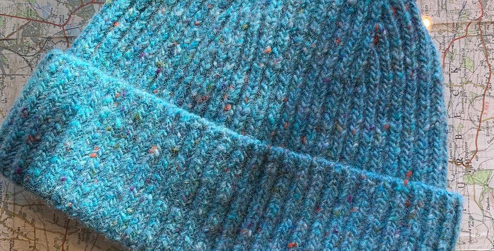 Aqua Wool Fisherman Beanie