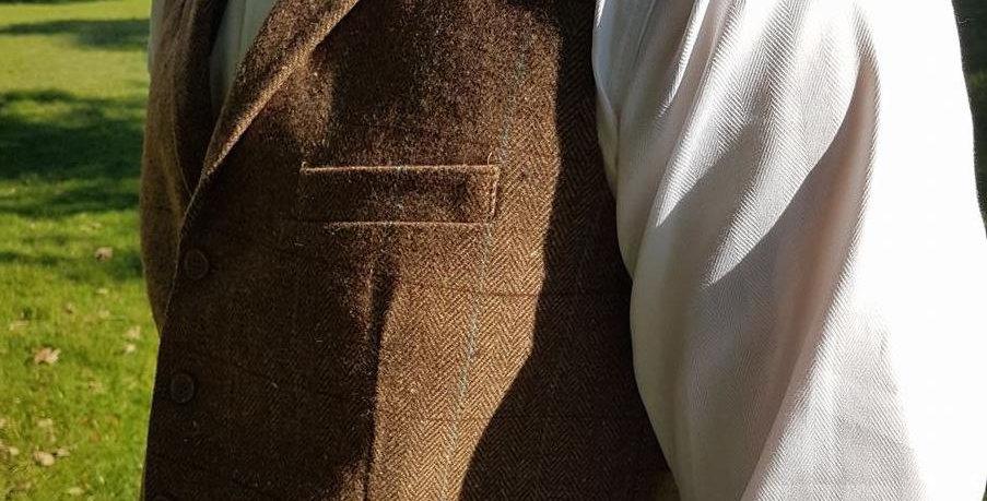 Brown Check Collared Waistcoat