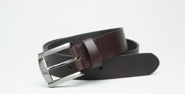 Plain Dark Brown Leather Belt