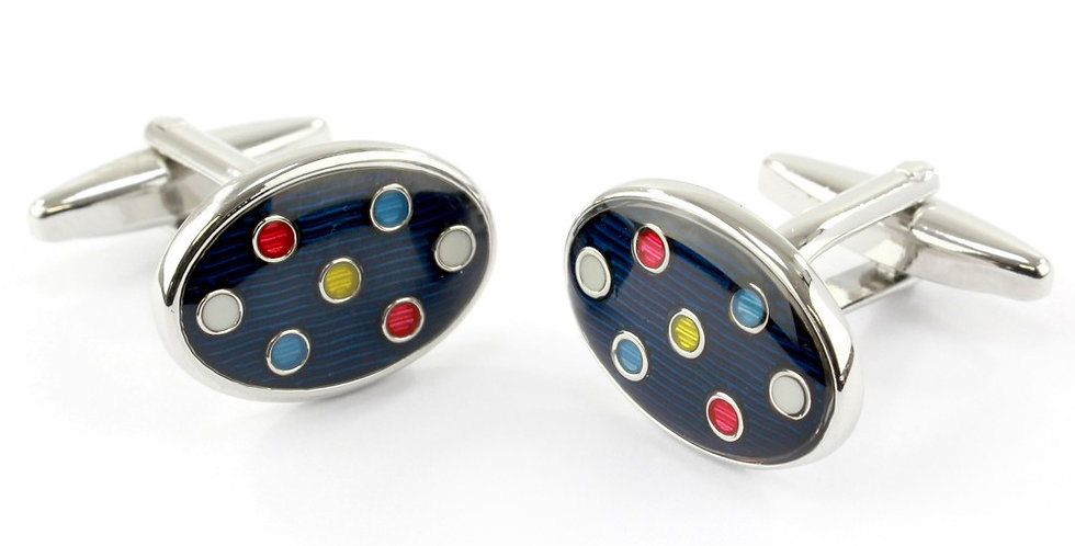 Navy Multi Spot Oval Cufflinks