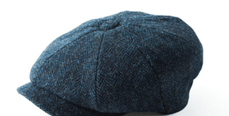 Blue Harris Tweed 8 Piece Cap