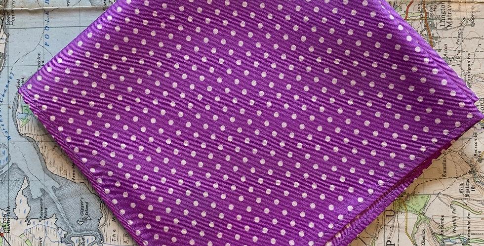 Lilac & Small White Spot Silk Pocket Square