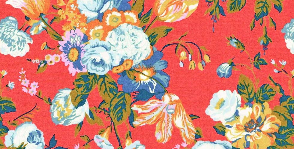 Liberty Print Red 'Magical Bouquet' Pocket Square
