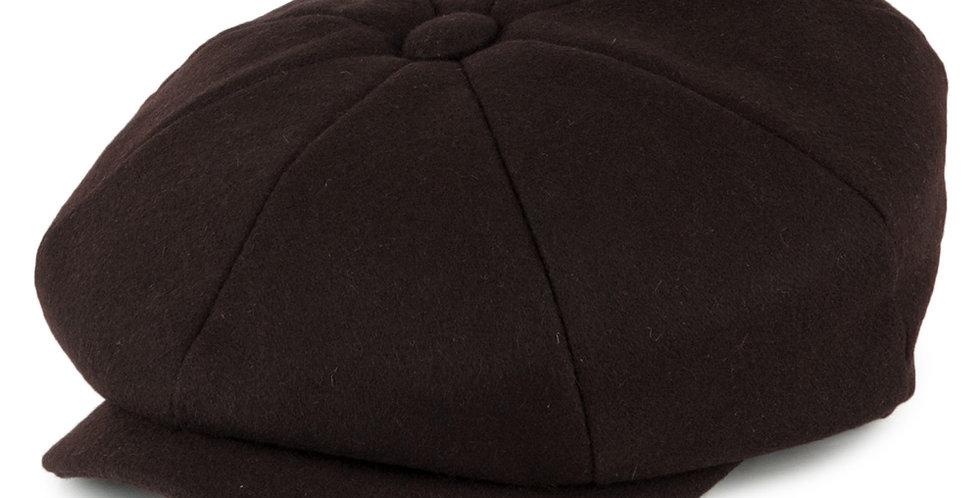 Brown Melton Wool 8 Piece Cap