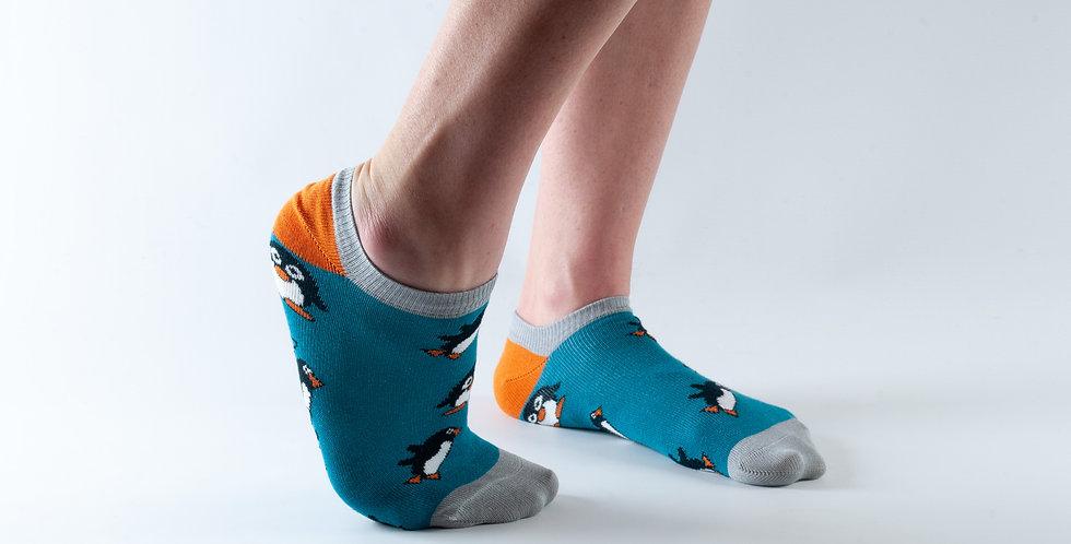 Size 3-7 Ankle Teal Penguin Bamboo Socks