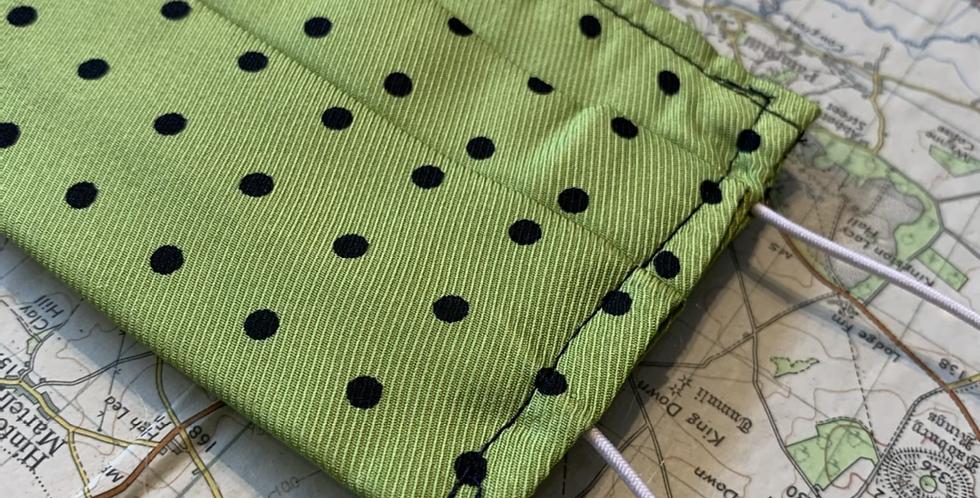 Green & Navy Small Spot Silk Face Mask
