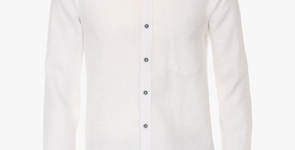 White Linen Long Sleeved Naro Collar Shirt