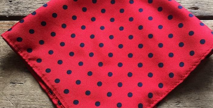 Red & Navy Spot Silk Pocket Square