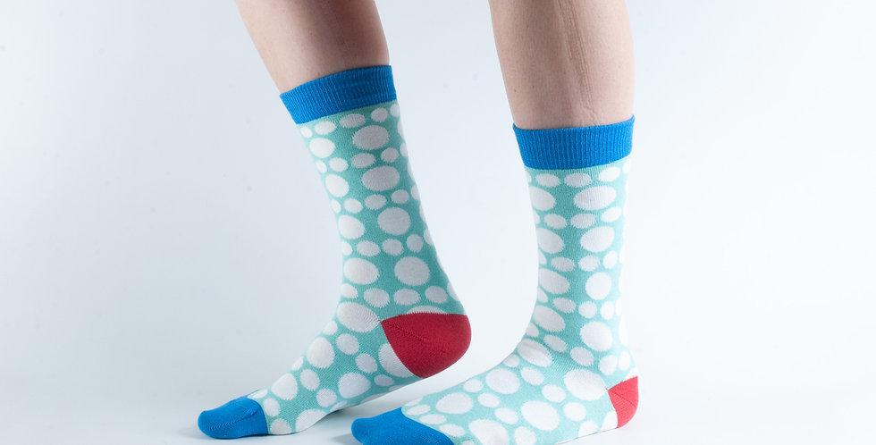 Size 3-7 Big Spot Aqua Bamboo Socks