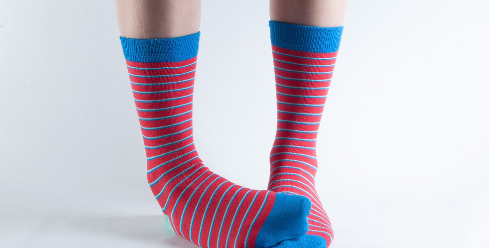 Size 3-7 Red Thin Stripe Bamboo Socks
