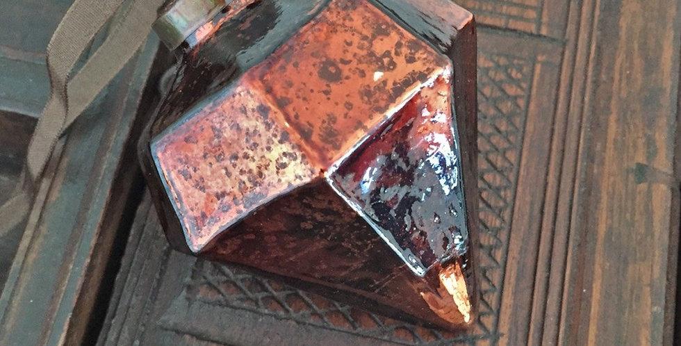 Medium Dark Copper Glass Jewel Shape Christmas Bauble