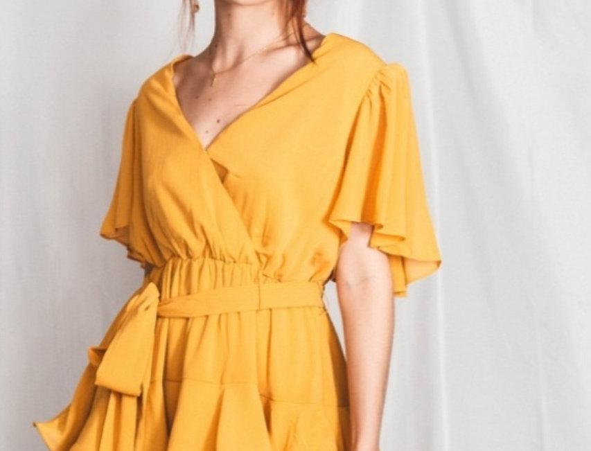 Vestido Con Olanes Amarillo