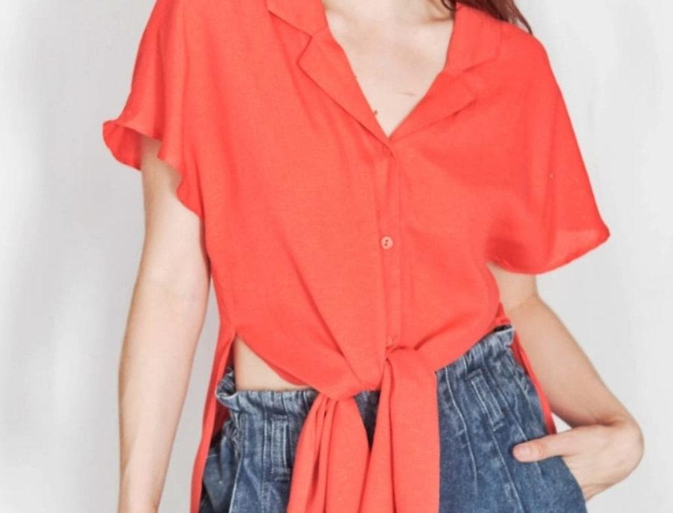 Blusa Con Botones Roja