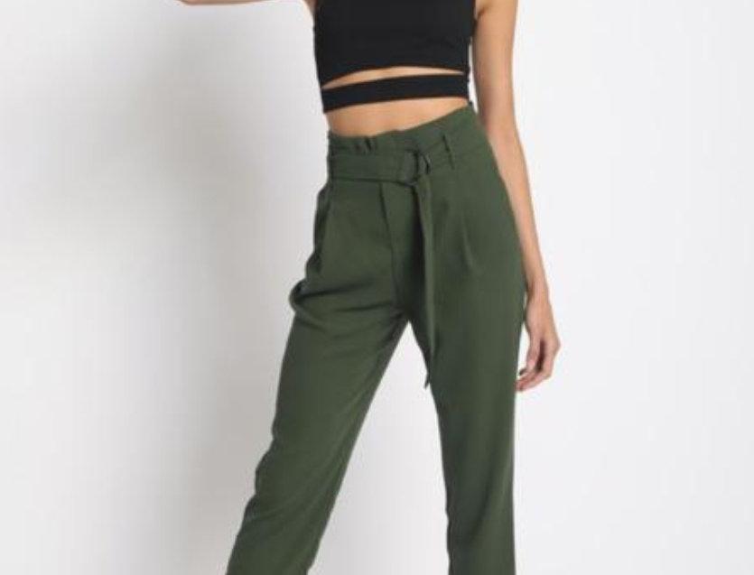Pantalon Verde Olivo Con Cinto