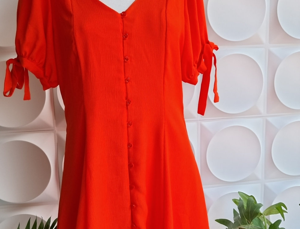 Vestido Naranja  Botones