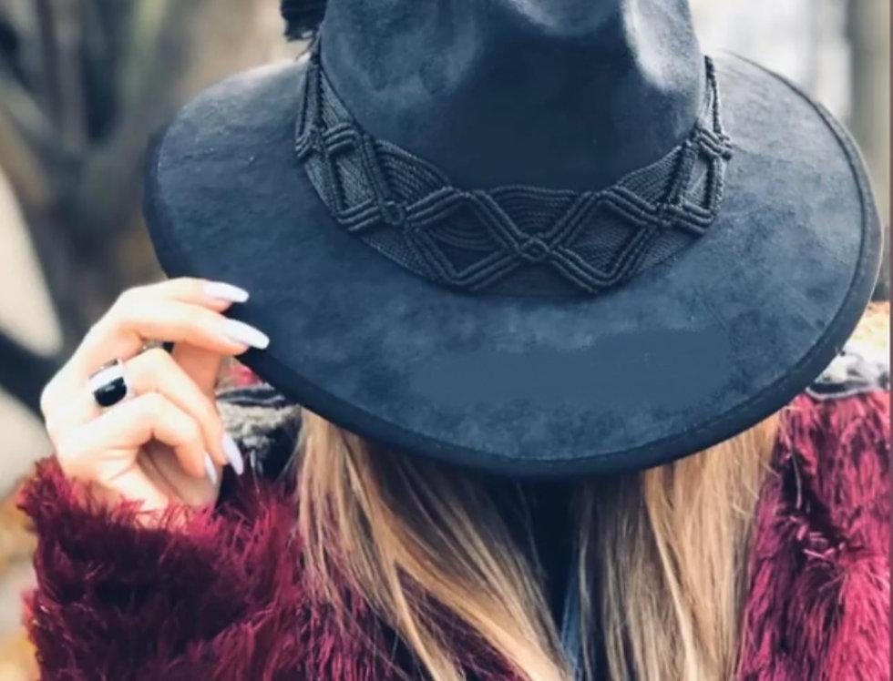 Sombrero Gamuza Toquilla Negra