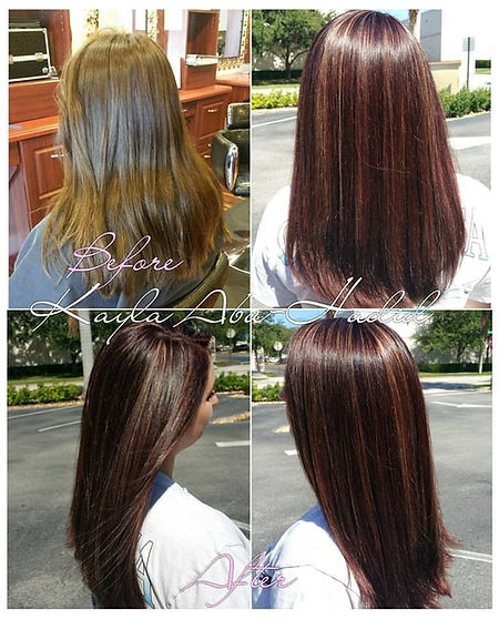 Photograph 1 showig before and after hair style