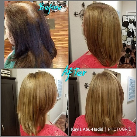 Photograph 4 showing before and after hair style