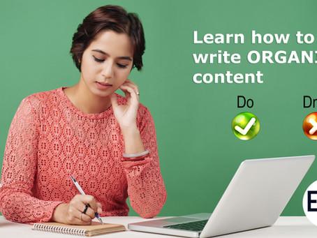تعلم كيف تكتب محتوى غير مدفوع Organic Content جيد وفعال