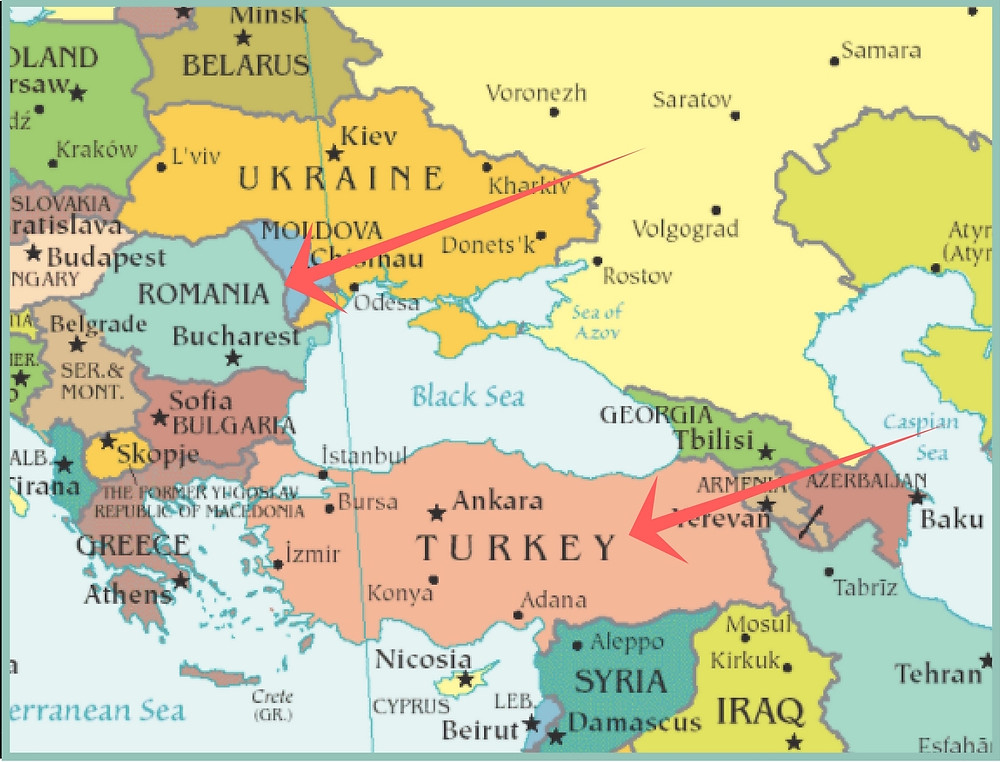 Map of Romania and Turkey