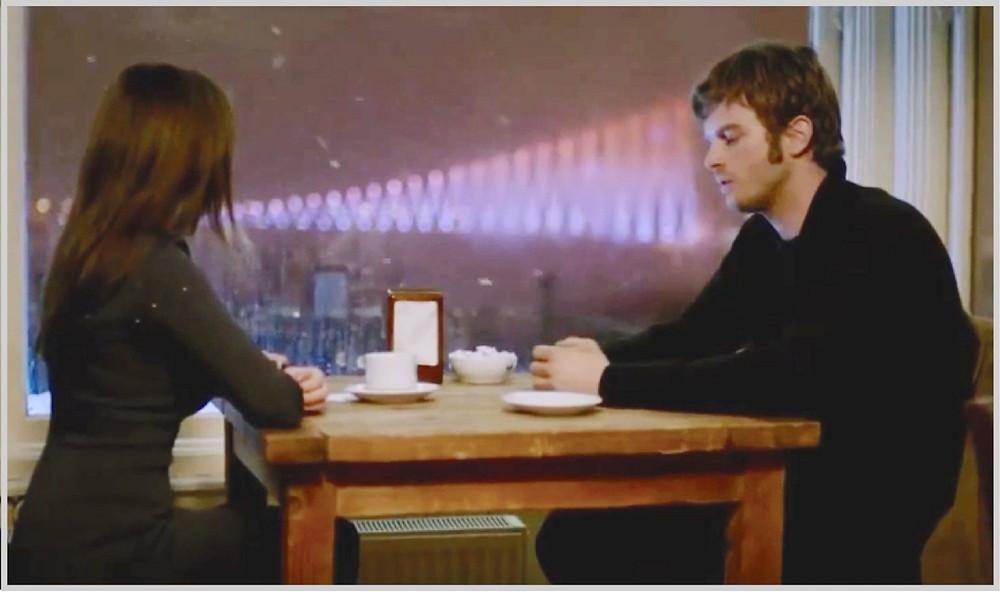 Kuzey and Cemre having coffee