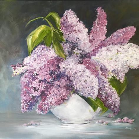 Lilacs in White Vase