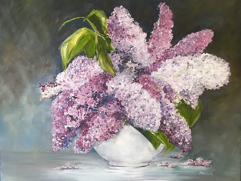 Lilacs in White Vase