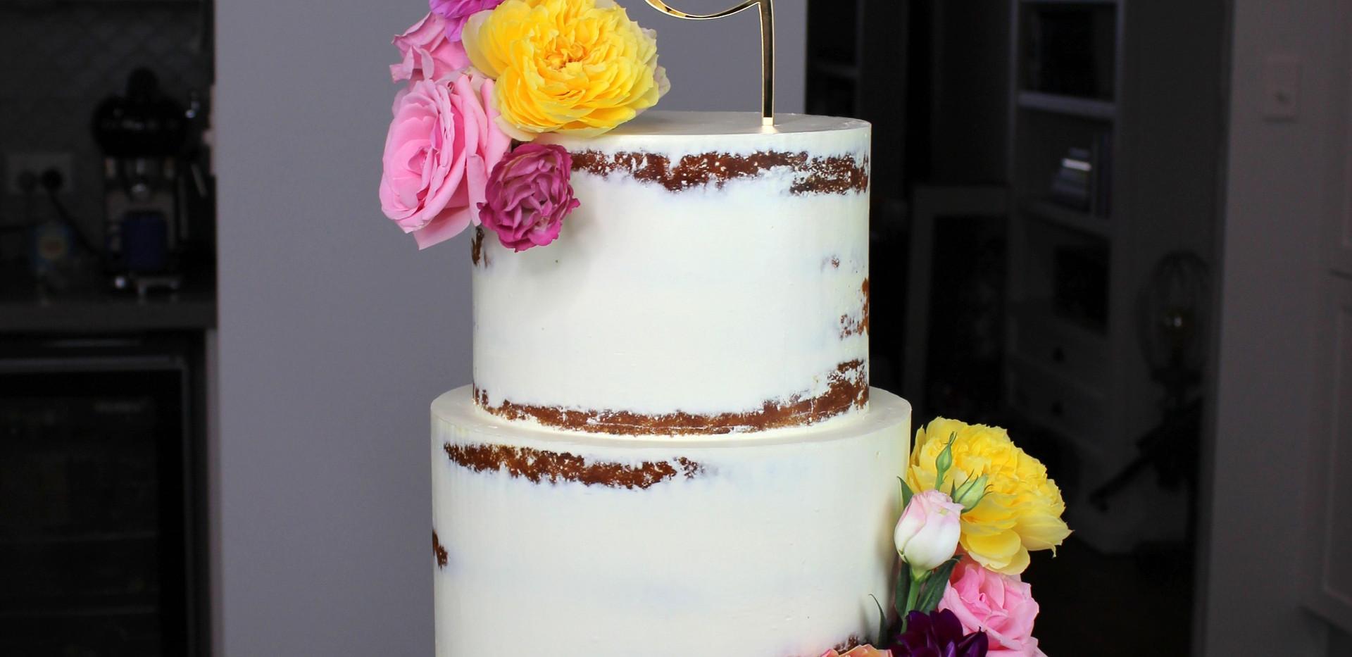 Floral Semi Naked Cake