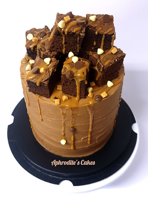 Salted Caramel Chocolate Brownie Birthday Cake 6'' 6-14portions