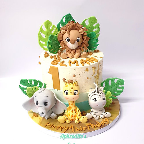 Zoo Safari Jungle Animals Cake 6''8-15portions