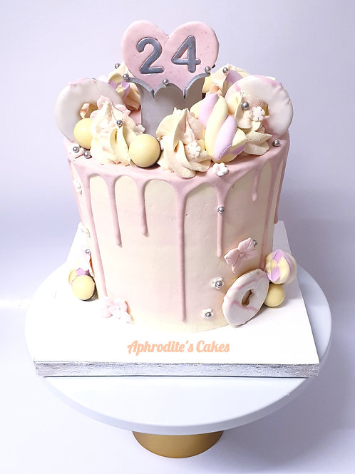 Pink fully loaded Drip Cake crown 6''6-14portions