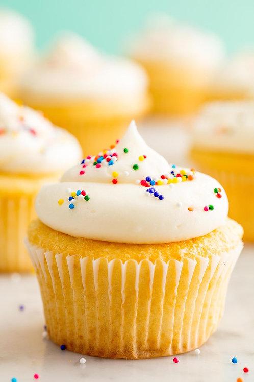 6 Plain Vanilla Classic Cupcakes