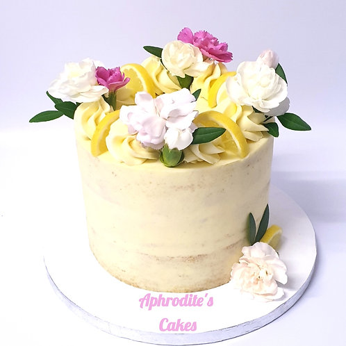 Lemon White Chocolate Elderflower Cake 6''6-12ppl