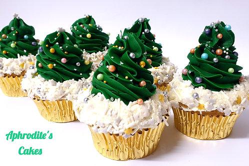 6 Christmas Tree Cupcakes