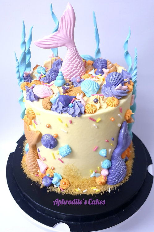 Mermaid seashells under the sea theme Cake 6'' 6-14portions